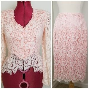 80's does 40's Pink Floral Lace Pencil Skirt Set